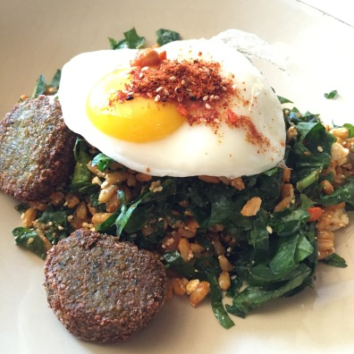 Cookshop Breakfast Bowl: red Russian kale / spinach / farro wheatberries / sesame seeds / hazelnuts / feta cheese / walnut oil / nigella / falafel / sunny side up egg...$16 -- PROS: the curry comes through in the farro & kale mix. Falafel is nice & crunchy on the outside, soft & chewy on the inside and holds up well. Farro is chewy & meaty & gives the dish body. Feta gives depth & hazelnuts with the sesame seeds give complexity. There is a nice balance of everything. There are just enough greens to let you know they are there but they back off to let you enjoy the star as the runny egg yolk brings the dish full circle