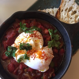 Poached Eggs & Piperade: two poached eggs / roasted red pepper / Castelvetrano olives / tempranillo wine / toast...$18