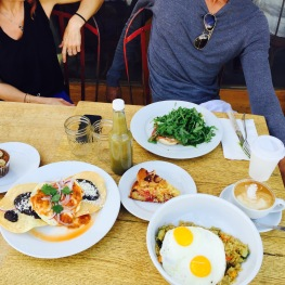 Organic Golden Quinoa / Huevos Rancheros / Green Eggs & Ham / Strawberry Cornmeal Cake / Caffe Latte