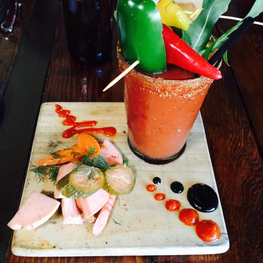 Bloody Board...$15 - Titos Vodka or Peligorosso Tequila Becky's Special Cubes / Salted Cucumber Celery Jus / Fresno Jus / Worcestershire Beet Jus Ballas Point IPA Bloody Mix House Pickles / Olives / Love