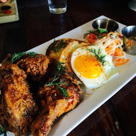 Buttermilk Fried Chicken: Kohlrabi Slaw / Sunny Egg / Brown Butter Crumpets...$21