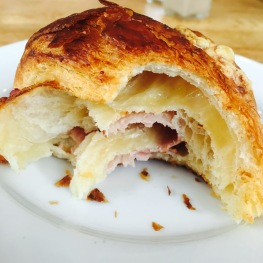 inside look at the Prosciutto Gruyère Croissant