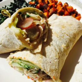 Shaved Turkey: Provolone / Tomato / Onion / Grape / Yogurt Dressing & Pita...$13.5 - A very refreshing and crisp turkey wrap using soft pita bread. I got it with half kale salad, half sweet potato hash. A satisfying meal for the price